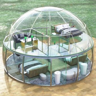 see through tent, transparent domes, clear domes, glamping domes. dome tent